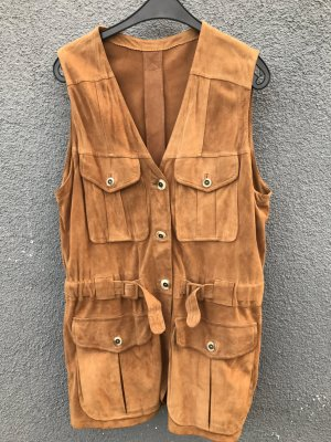 Gilet en cuir brun sable-marron clair