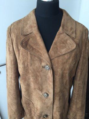 Manteau en cuir bronze daim