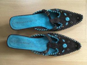 Tamaris Moccasins light blue-black brown suede