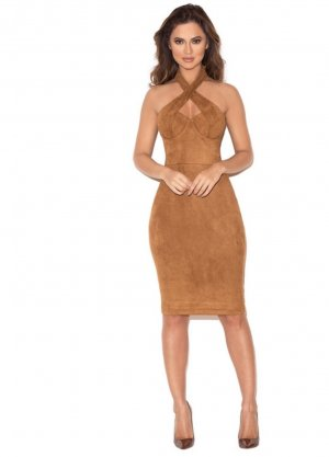 Pencil Dress brown-bronze-colored