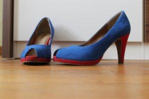 Wildleder Peeptoes Tamaris blau-rot