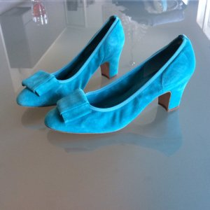 Mary Jane Pumps turquoise leather