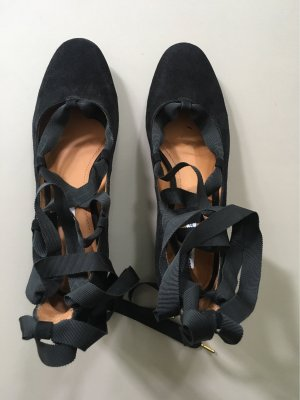 & other stories Tacones con cordones negro Gamuza