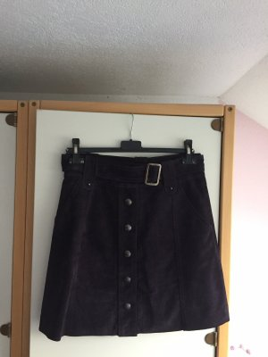 Hallhuber Leather Skirt brown violet