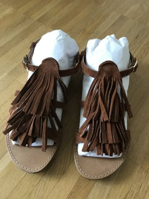 Wildleder-Sandalette mit Fransen flach