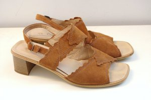 Gabor T-Strap Sandals brown-dark orange leather
