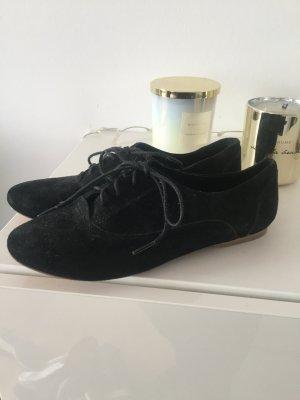 Wildleder Schnürschuhe Schuhe schwarz Gr 40