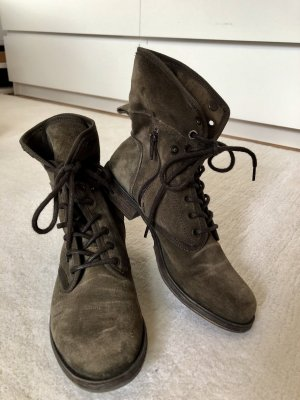 Lace-up Boots olive green-khaki leather