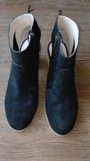wildleder Stiefel Sandalen in Schwarz Gr.36