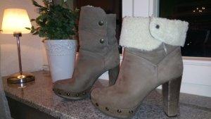 Wildleder Stiefelette / Holzabsatz Clogs / mit Nieten / Hippie Boho Style/ Gr.37