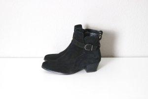 Wildleder Stiefeletten Gr. 37 mit Zierschnalle Ankle Boots schwarz