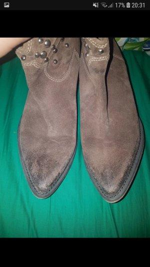 Vera Gomma Western Booties grey brown