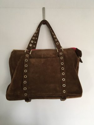 Genuine Leather Carry Bag multicolored suede