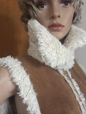 Leather Vest camel-cream