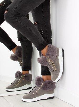 Wildleder Winter Sneaker Schnürsneaker Schnürstiefel 16-529 Schnürschuhe  isolierende Außensohle Fell Fake Fur Kunstfell Reißverschluss 38 39