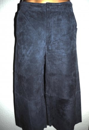 Zara Basic Leather Trousers dark blue suede