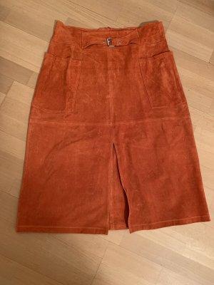 Dorothy Perkins Leather Skirt orange-dark orange