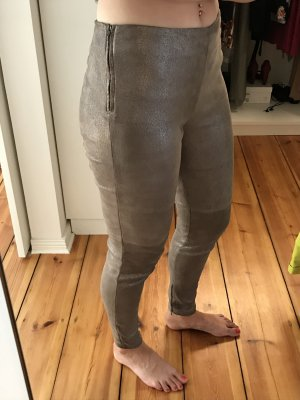 Leather Trousers gold-colored