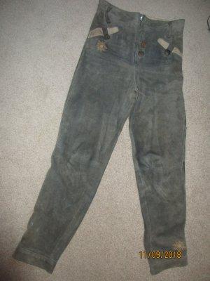 MarJo Pantalón de cuero tradicional gris verdoso