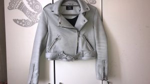 Bershka Leather Jacket light blue-azure