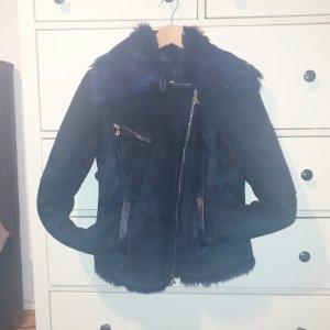 Patricia Pepe Fake Fur Jacket dark blue leather