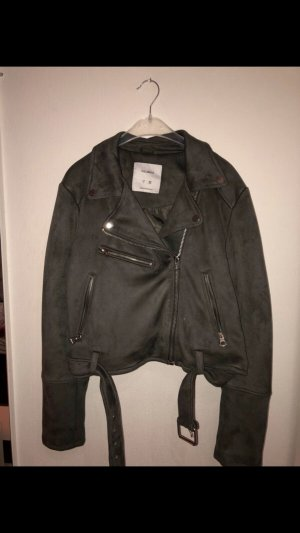 Pull & Bear Faux Leather Jacket grey