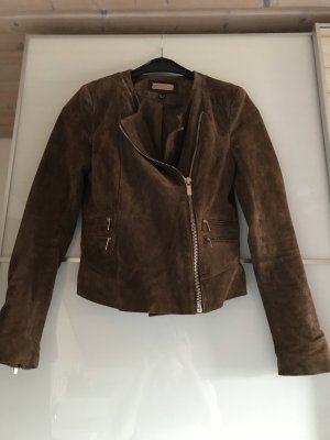 Mango Leather Jacket brown-bronze-colored