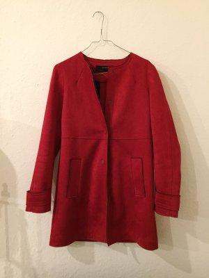 Zara Abrigo de cuero rojo-rojo oscuro