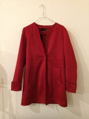 Zara Manteau en cuir rouge-rouge foncé