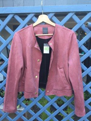 Chaqueta de cuero rosa-rojo frambuesa