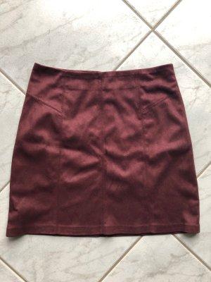 Pimkie Falda de cuero de imitación burdeos