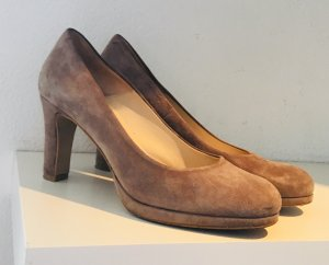 Wildlederpumps in taupe/rosa
