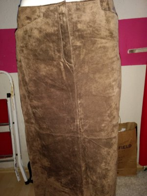 Wildlederrock. Braun echtes Leder Größe 40