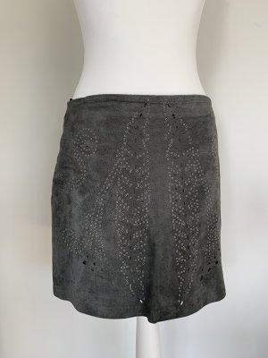 Zara Falda de cuero gris