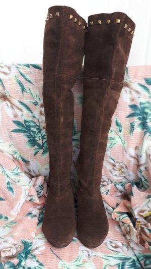 Pesaro Wide Calf Boots bronze-colored suede