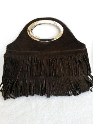 Bolso con correa color bronce Gamuza