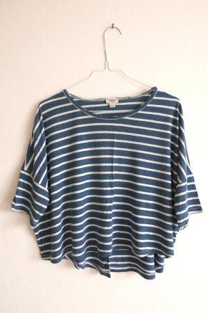 Cropped shirt wit-staalblauw Katoen
