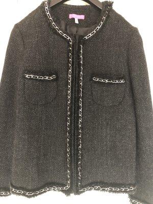 Suzanna Blazer de lana negro-color plata