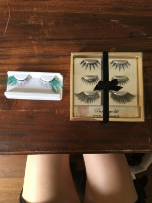 Wimpern set aufgeklebare eye lashes Party Festival set Federn Glitzer
