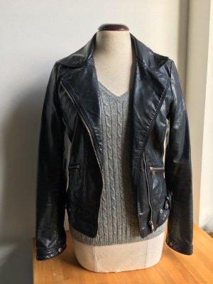Zara Veste en cuir noir-blanc faux cuir