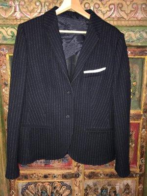 Windsor Blazer en laine bleu foncé-blanc cassé tissu mixte
