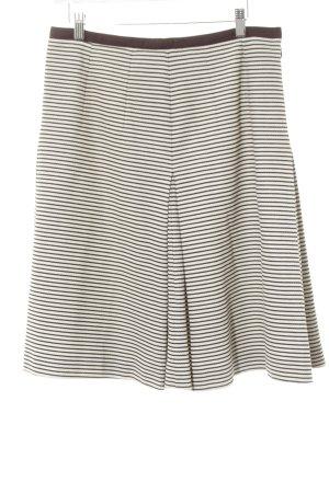 Windsor Faltenrock wollweiß-schwarzbraun Streifenmuster Casual-Look