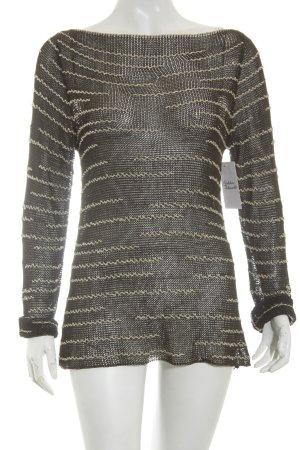 Windsor Häkelpullover dunkelbraun-creme Streifenmuster Casual-Look