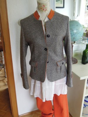 Windsor Blazer en laine gris-orange fluo
