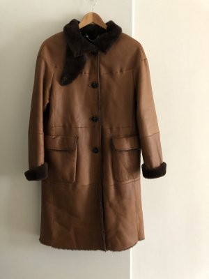 Windsor Cappotto in pelle marrone scuro-cognac