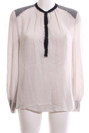 Windsor Langarm-Bluse creme-schwarz grafisches Muster Business-Look