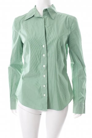 Windsor Langarm-Bluse grün-weiß Streifenmuster