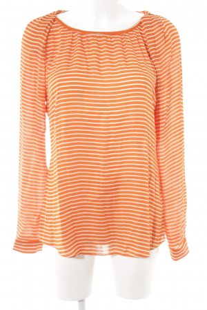 Windsor Langarm-Bluse orange-weiß Streifenmuster Casual-Look