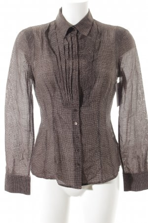 Windsor Langarm-Bluse weiß-dunkelbraun Punktemuster Casual-Look