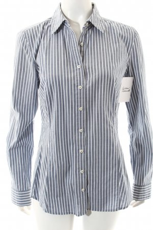 Windsor Langarm-Bluse weiß-graublau Streifenmuster Business-Look